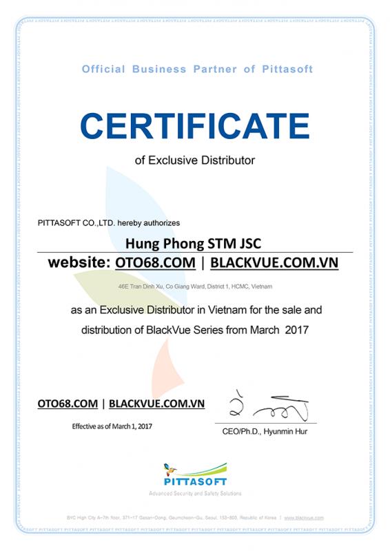 PARTNER CERTIFICATE 20170810 566x800 - Tập đoàn Pittasoft chứng nhận Công ty Hưng Phong phân phối độc quyền camera hành trình Blackvue tại Việt Nam