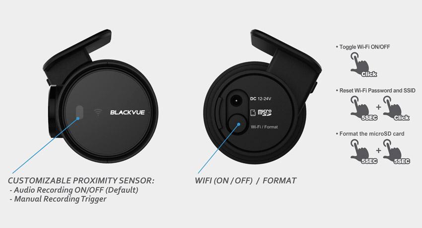 blackvue dash cam dr750s 1ch button proximity sensor - Camera hành trình Xe Tải cao cấp Blackvue DR750S-2CH TRUCK